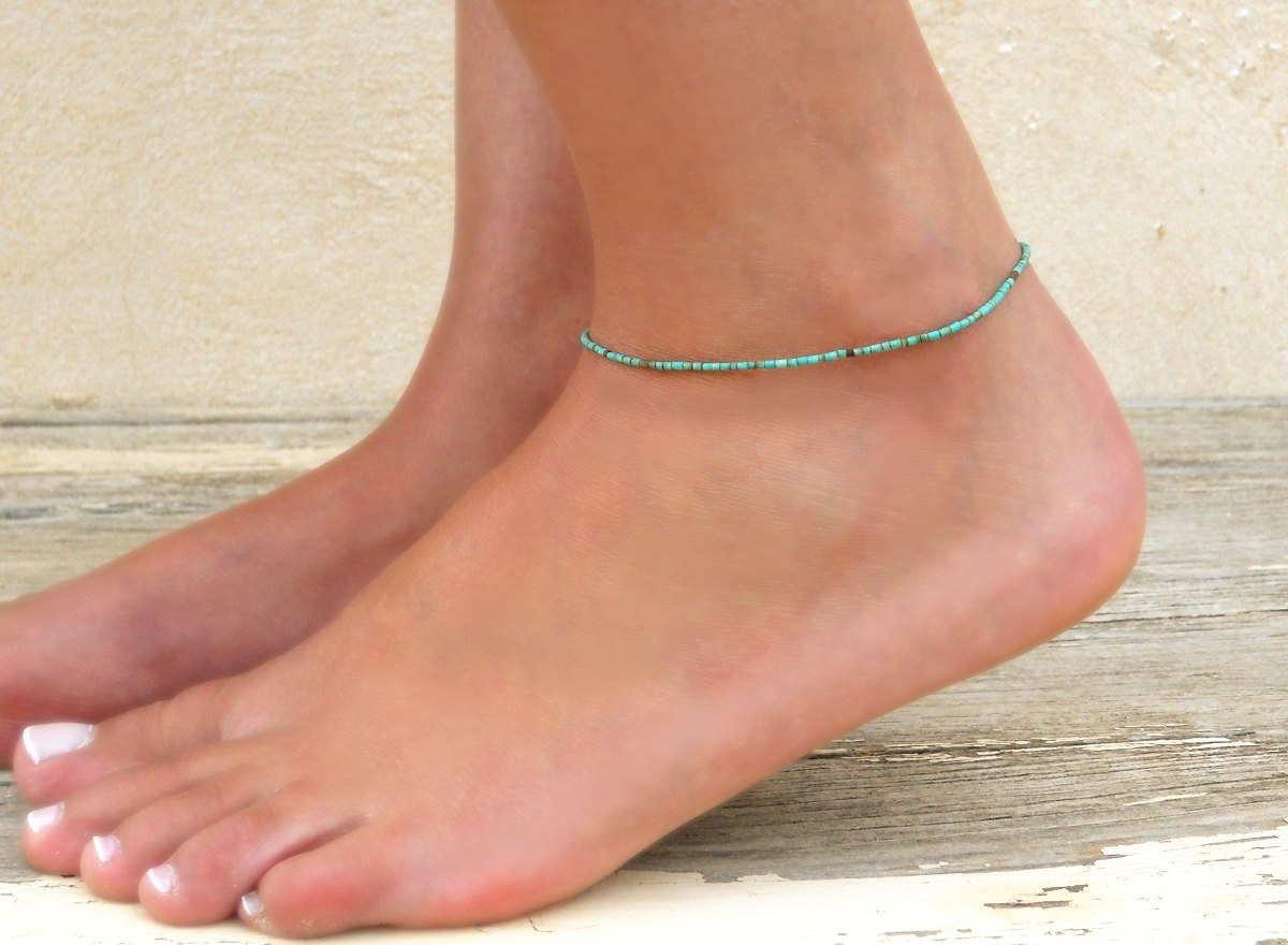 blue ethnic and wire white bracelets bohemian jewellery boho pin turquoise anklet